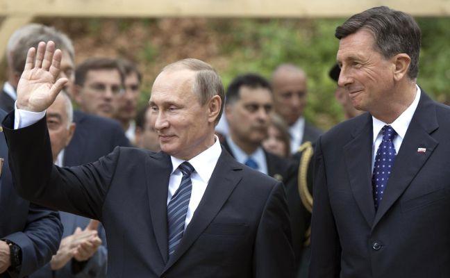 Президенты России и Словении Владимир Путин и Борут Пахор